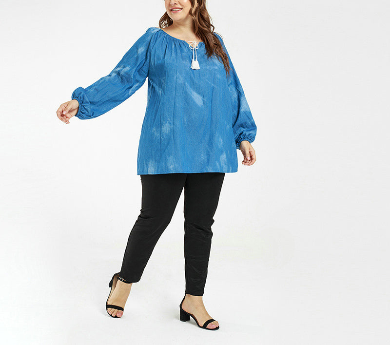 Plus Size Casual Lantern Sleeve Thin Denim Top