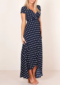 Sexy V-neck Polka Dot Short-sleeved Lace Dress