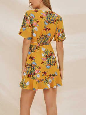 Chiffon Print V-neck Ruffle Dress