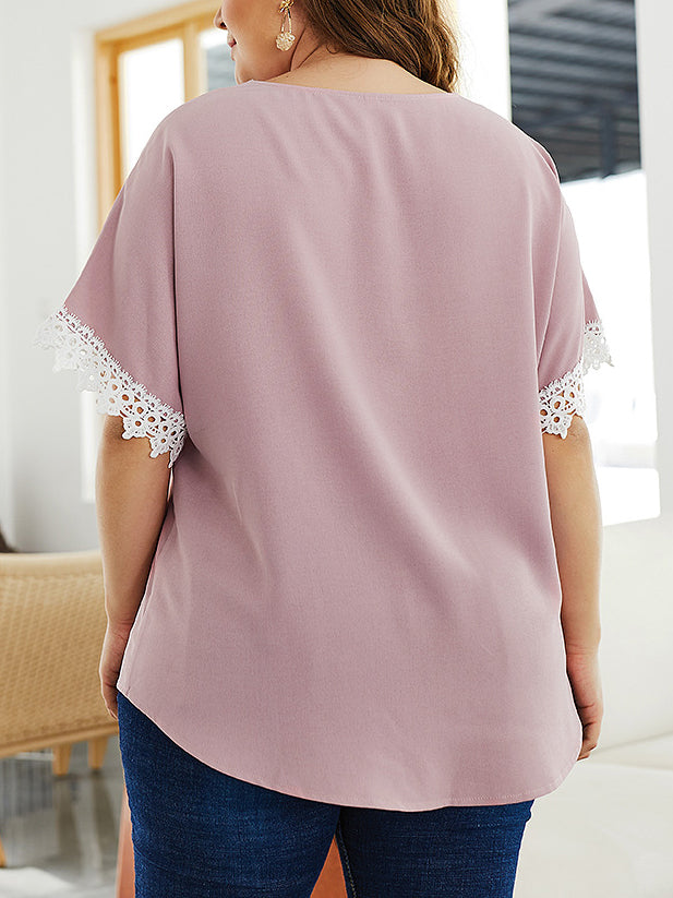 Lace Patchwork Sexy V Neck Women Top