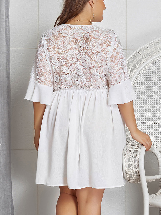 Plus Size Lace V-neck Sexy Dress