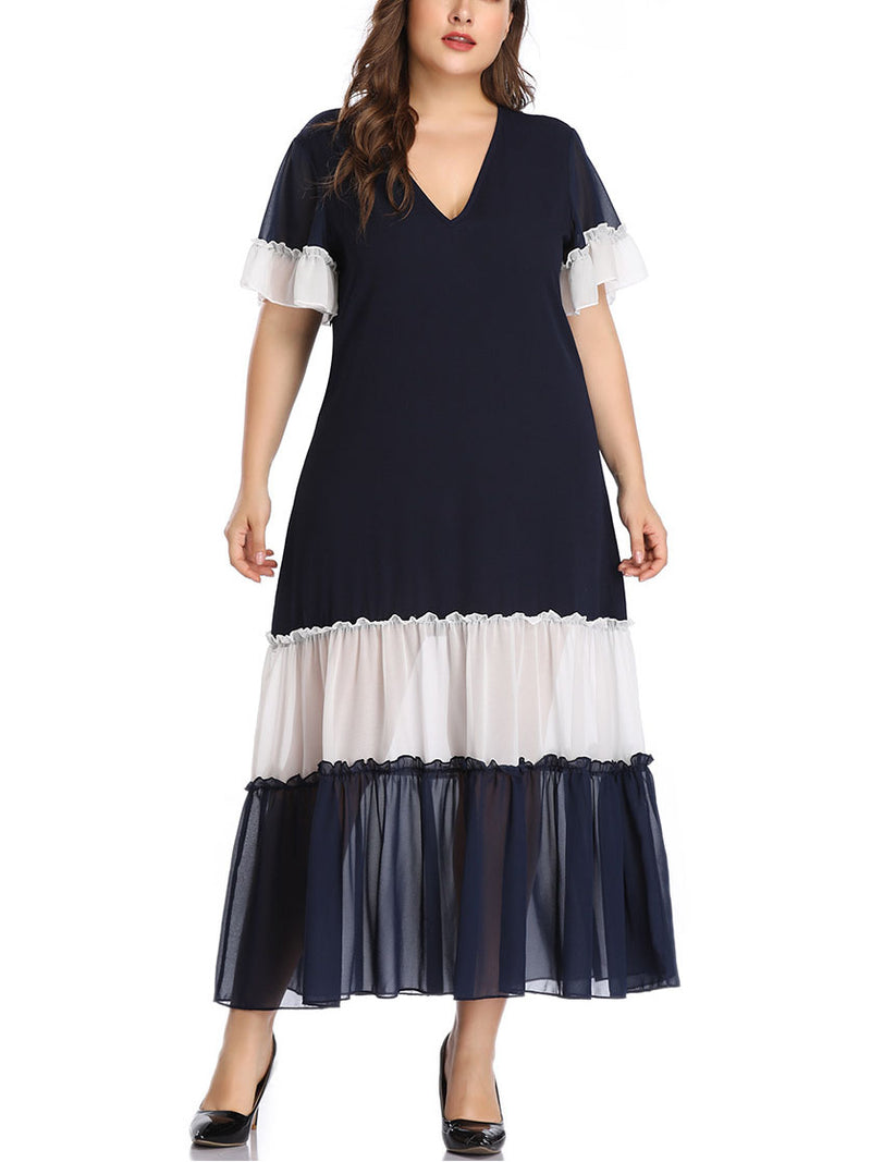 Large Size Women's Stitching Contrast Color Matching Dress Pleated Skirt Pleated Stitching