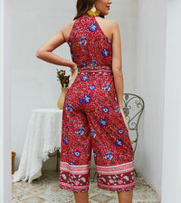 Explosive Print Hanging Neck Straps Holiday Wind Jumpsuit