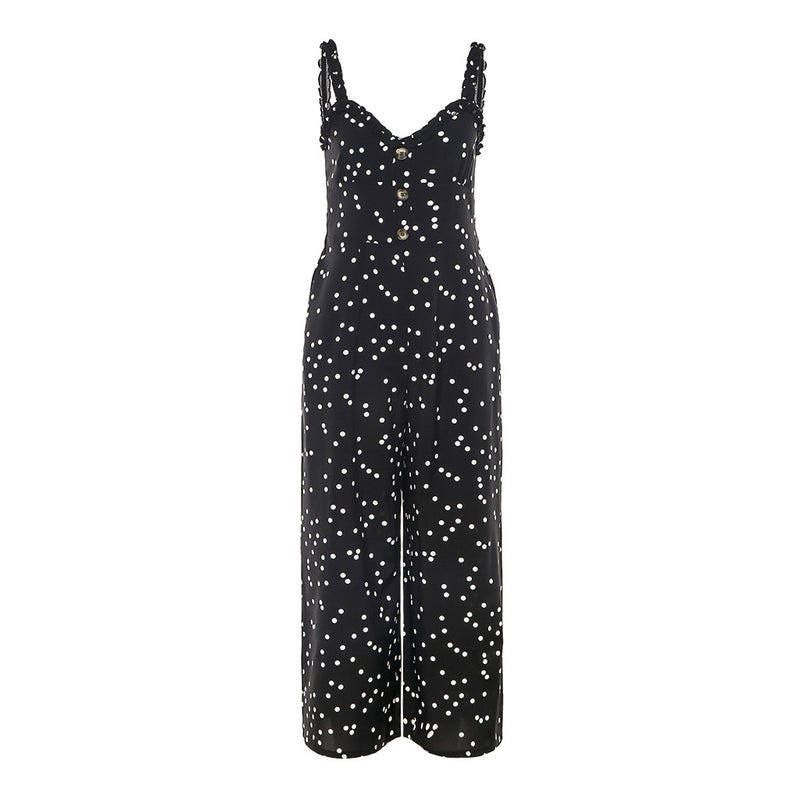 Slim-fit Polka-dot Lace Sling Pocket Wide Leg Jumpsuit
