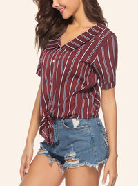Summer V-neck Striped Lace-up Short-sleeved Shirt