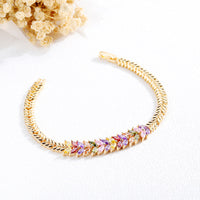 Copper Plated 18K Gold Inlaid Zircon Bracelet