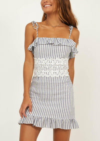Lace Stitching Striped Ruffled Summer Dress