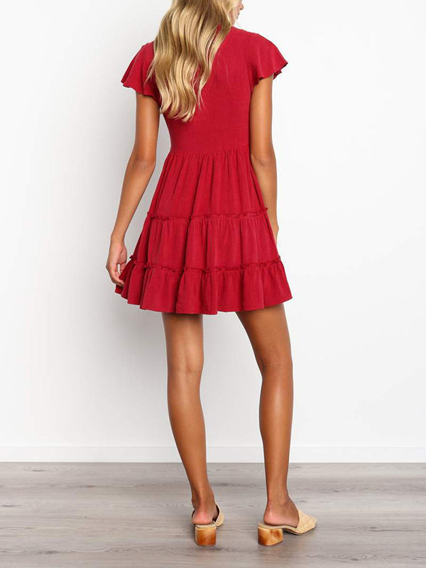 Sexy V-neck Button Pleated Solid Color Dress