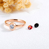 Titanium Steel Plated Rose Gold Interchangeable Diamond Ring