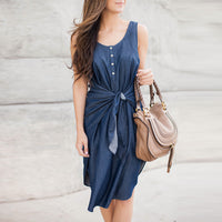 Casual Belt Vest Irregular Skirt Denim Dress