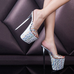 Summer Super High Heel Slippers Female Transparent Hate Sky High 20 Cm Extra Large Code 43-47 Code Leopard Print