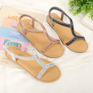 Fashion Light Soft Bottom Sandals Female Summer Flat Bottom Thank Summer Ladies Slip Non-slip Women's Shoes Wear Sandals