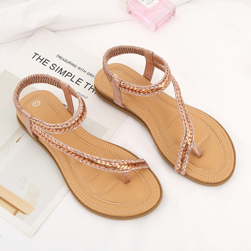 Summer Ladies Sandals Bohemian Female Sandals Beach Comfortable Flat Sandals