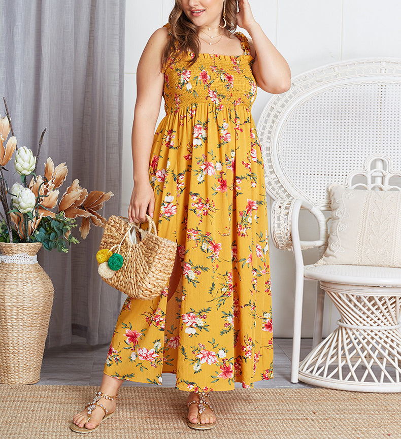 Large Size Sling Floral Dress