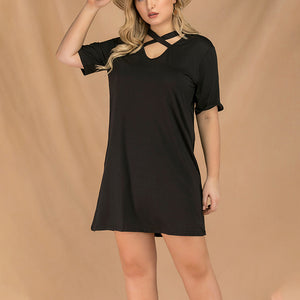 Large Size Sexy Cross with V-neck Short-sleeved Fashion Long Dress