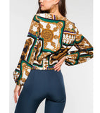Fashion Long Sleeve Printed Crop Top