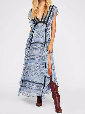 Bohemian Ruffled Lace-up Chiffon Dress