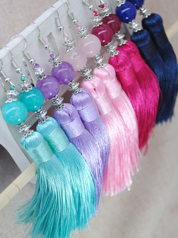 Natural Stone Bead Earrings Jewelry National Retro Cotton Line Long Tassel