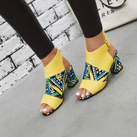 Summer New Color Matching Fish Mouth Wild Cross Straps High Heel Tassel Women Sandals