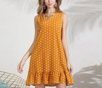 Polka-deck Crew Neckless Long Dress