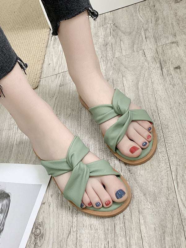 Sandals Female Summer Flat Fashion Slip Wear Slipper Cross Straps Slip Female Slippers