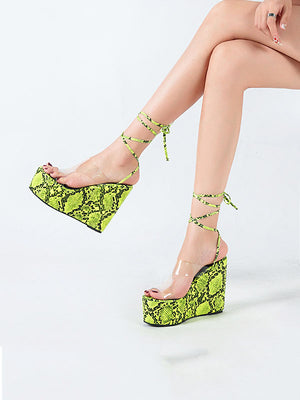 One-word Buckle with Transparent Sandals Female Summer Fashion Snake Pattern Open Toe Super High Wedge Shoes