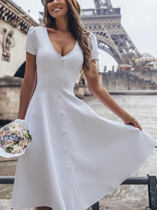 Women's V-neck Short-sleeved Solid Color Dress Single-breasted Sweet Court Princess Dress