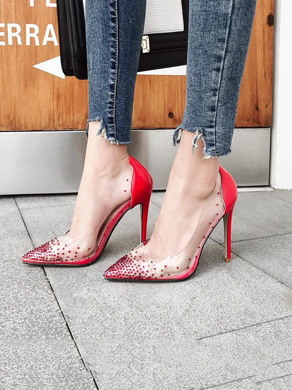 Sexy Pumps Crystal Pointed Shallow Mouth Rhinestone Transparent Thin Super High Heel Shoes