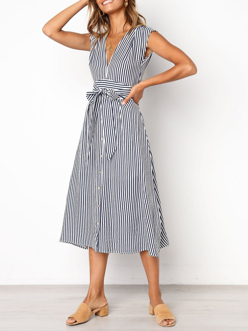Striped Waist Tie Casual Dress