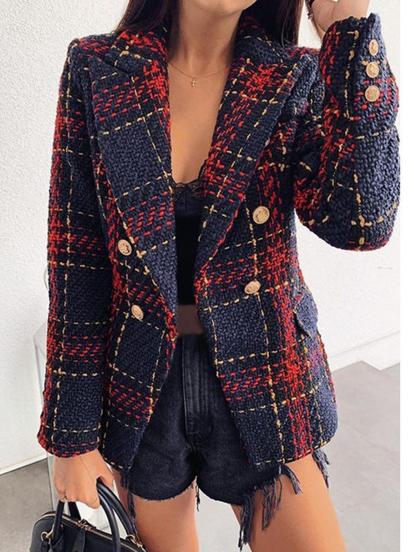 Ladies Double-Breasted Plaid Blazer Coat