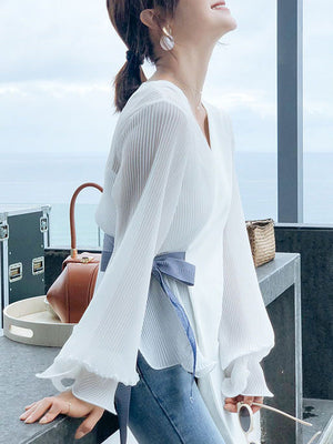 Summer Crease Stitching Ruffled Long-sleeved Top
