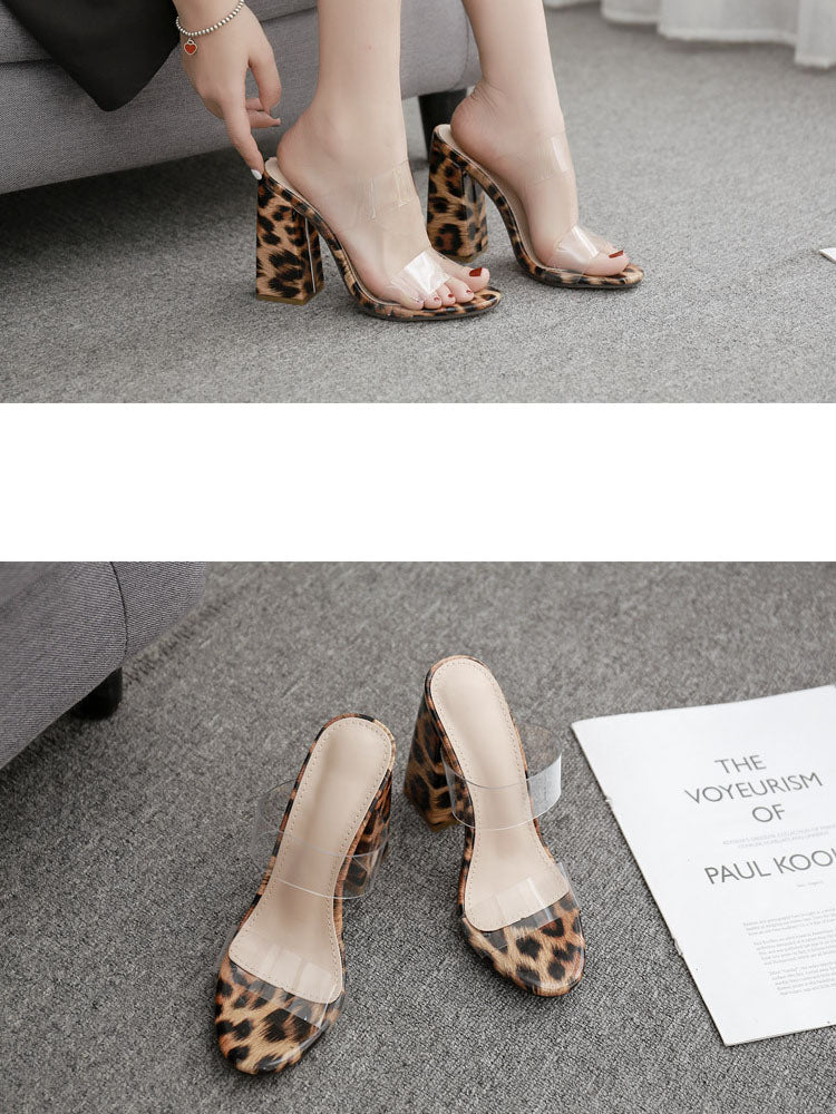 Summer Slippers Open Toe Transparent Film High Heels Large Size Leopard