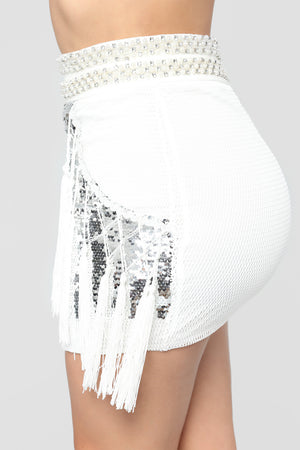 Nightclub Gauze Sequined Fringed Skirt Two-piece
