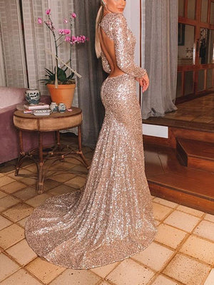 Summer Women's Sexy V-neck Halter Sequin Dress Maxi Dress