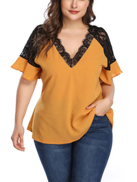 Large Size Women's Contrast Color Lace Stitching Top