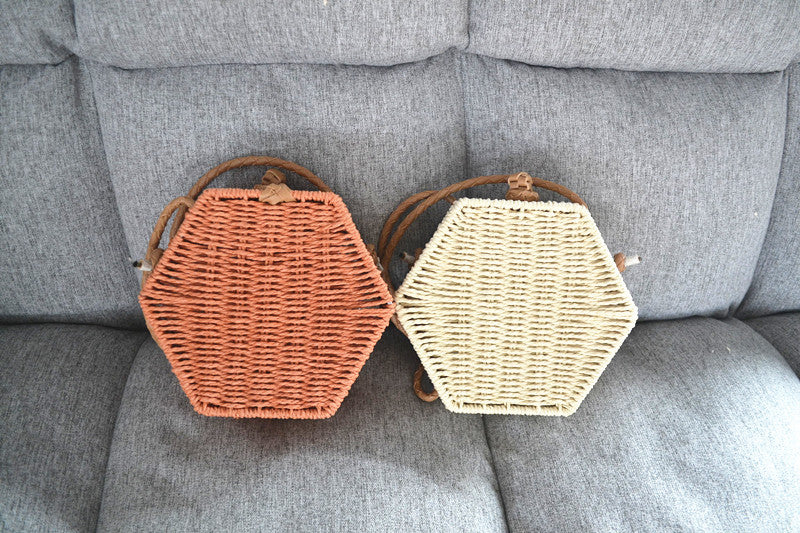 Hexagonal Paper Rope Bag Female Summer Beach Bag Straw Bag