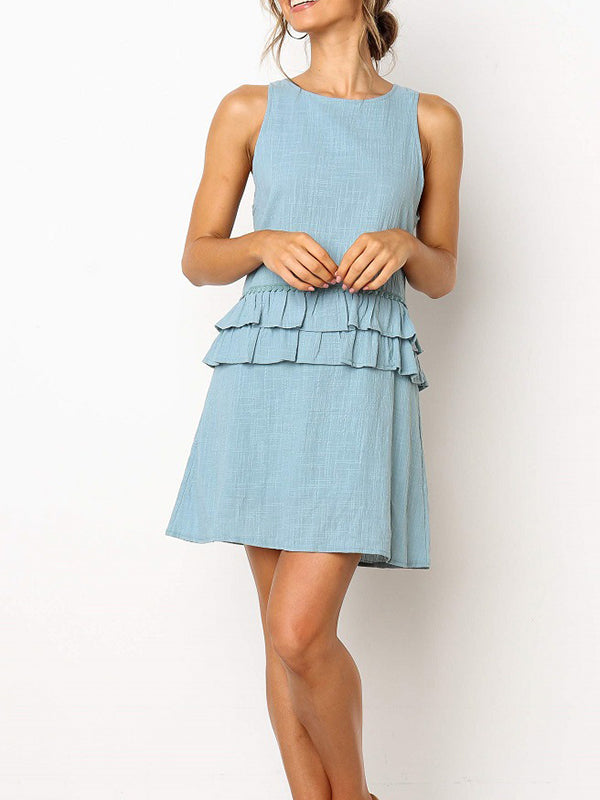 Solid Color Round Neck Sleeveless Halter Strap Ruffled Dress