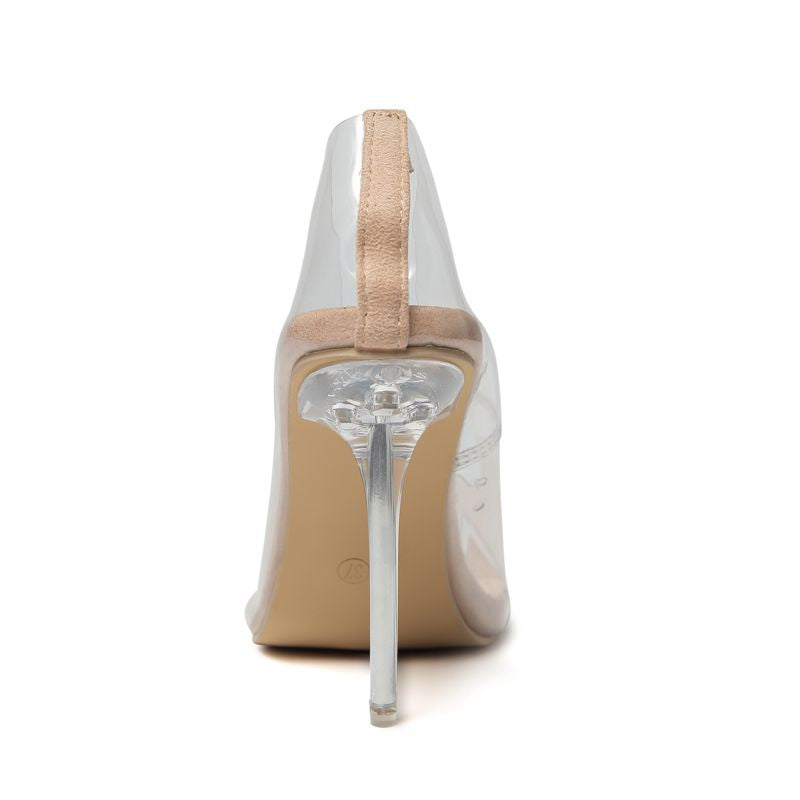 Ms. Transparent Single Shoes Pointed Shallow Mouth High Heel Large Size