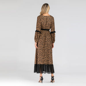 Fashion Leopard New Muslim Spinning Stitching Dress