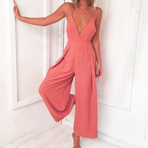 Solid Color Halter Strap Bow V-neck Waisted Jumpsuit