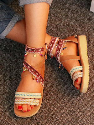 Summer Bohemian National Style Beaded Sandals Sweet Casual Large Size Women's Shoes