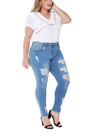 Large Size Jeans Female Hole-breaking Stretched Slim Ladies Jeans