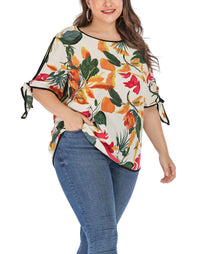 Short-sleeved Printed Large Size Tops Women
