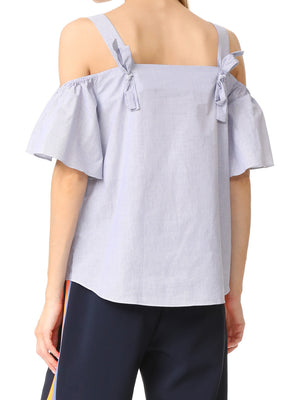 Striped Sling Off-shoulder Short-sleeved Loose Top