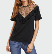Edge Trim Black Embroidered Sexy Mesh Top T-Shirt