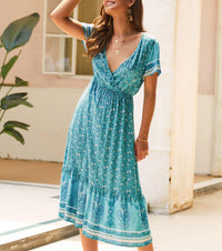 Bohemian Short Sleeve V-neck Dress