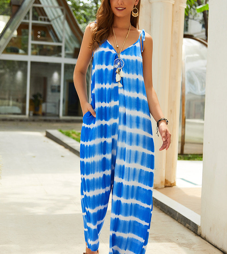 New Sling V-neck Print Blue Jumpsuit