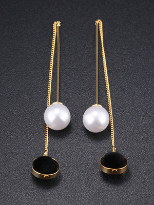 Pearl Tassel Hairball Temperament Earrings