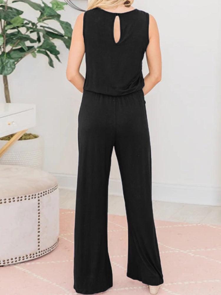 Round Neck Sleeveless Loose Jumpsuit