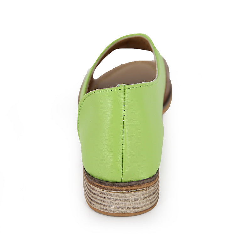 Spring and Summer Fish Mouth Color Matching Mouth Low Square with Large Size Ladies Sandals